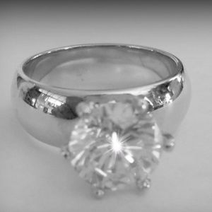 Ladies 1ct. CZ Round Solitaire Ring